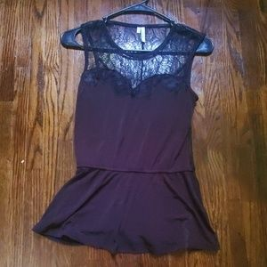 Maurices Studio Y Black lace peplum top small